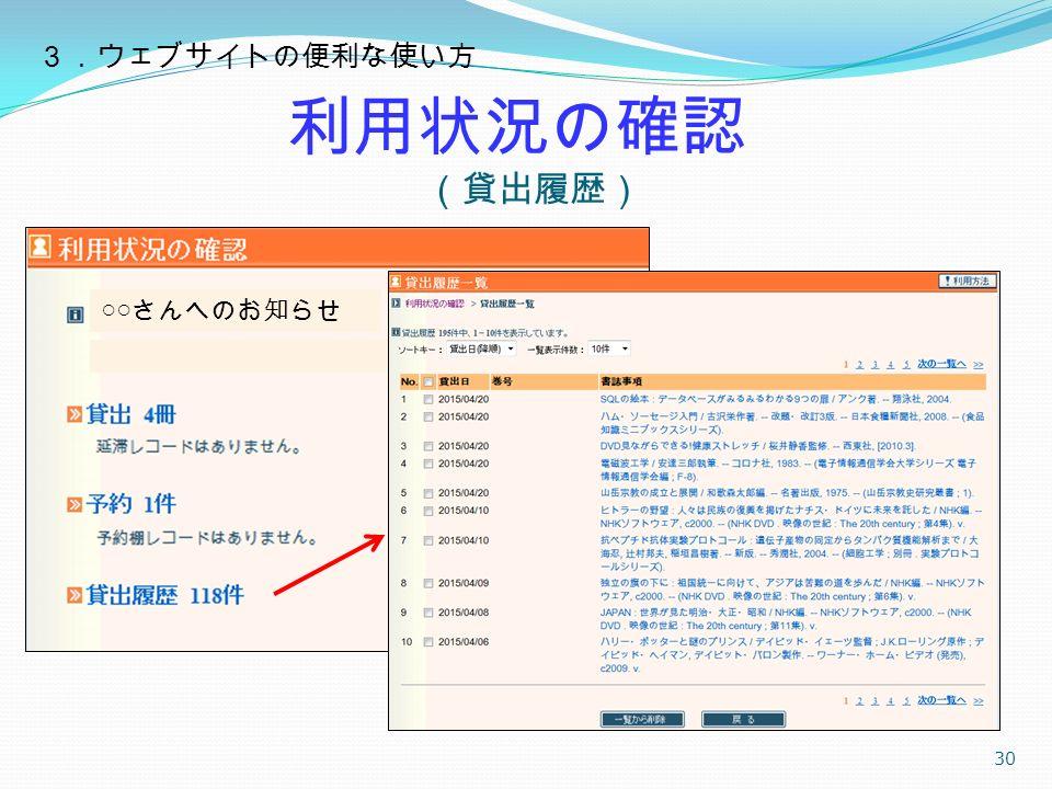 利用状況の確認 (貸出履歴) 30 ○○ さんへのお知らせ 3.ウェブサイトの便利な使い方
