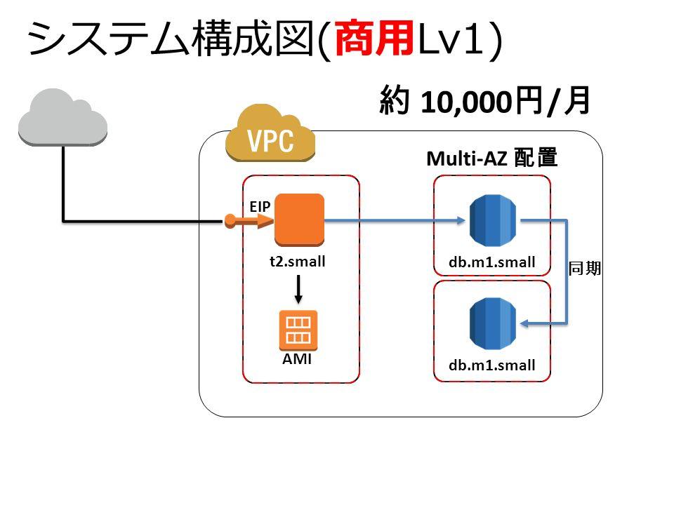 システム構成図(商用Lv1) 約 10,000 円 / 月 db.m1.small t2.small Multi-AZ 配置 EIP AMI 同期