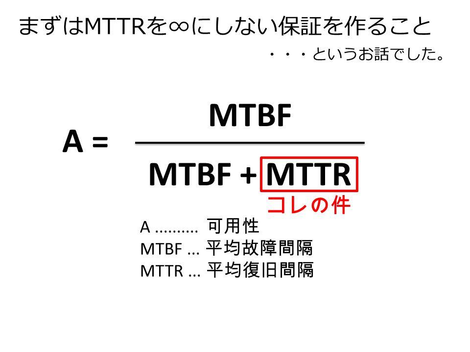 まずはMTTRを∞にしない保証を作ること MTBF MTBF + MTTR A = A..........