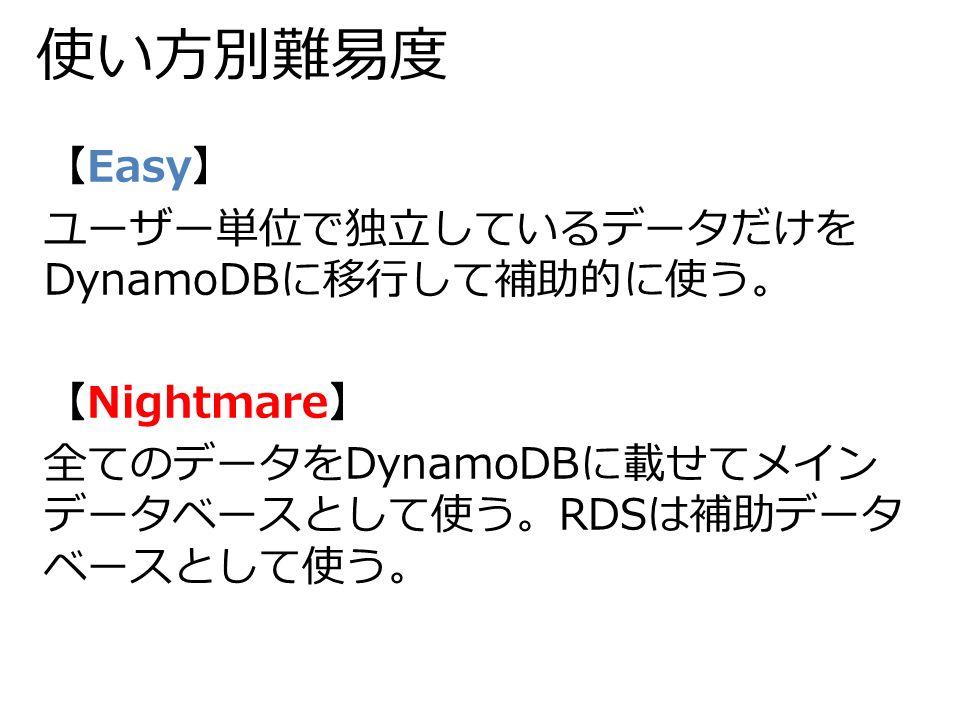 使い方別難易度 【Easy】 ユーザー単位で独立しているデータだけを DynamoDBに移行して補助的に使う。 【Nightmare】 全てのデータをDynamoDBに載せてメイン データベースとして使う。RDSは補助データ ベースとして使う。