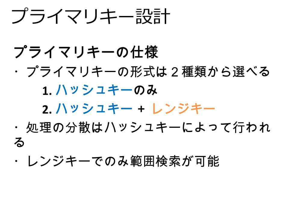 プライマリキー設計 プライマリキーの仕様 ・プライマリキーの形式は2種類から選べる 1. ハッシュキーのみ 2.