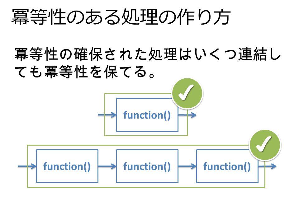冪等性のある処理の作り方 冪等性の確保された処理はいくつ連結し ても冪等性を保てる。 function() ✔ ✔