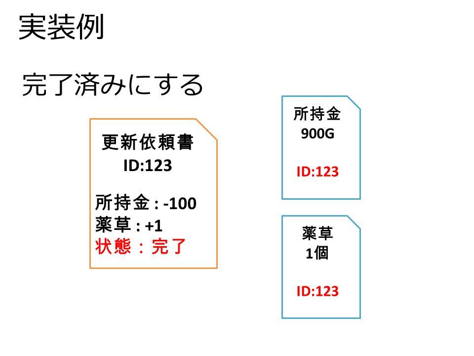 実装例 更新依頼書 ID:123 所持金 : -100 薬草 : +1 状態:完了 所持金 900G ID:123 薬草 1 個 ID:123 完了済みにする