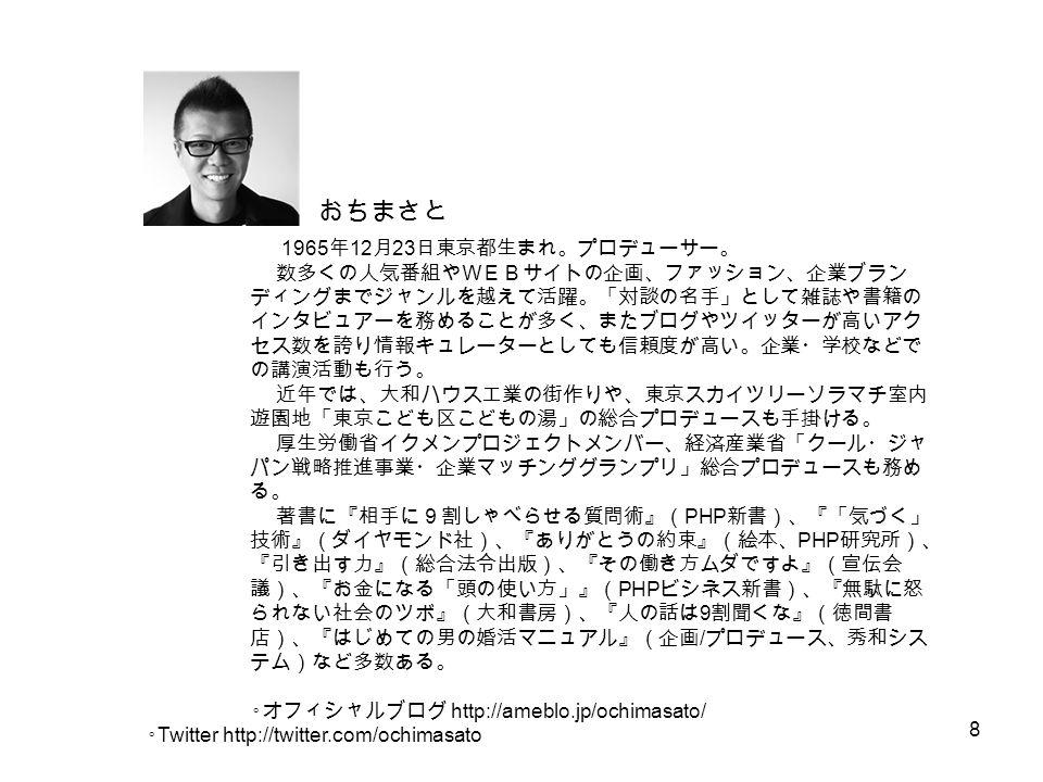 8 おちまさと 1965 年 12 月 23 日東京都生まれ。プロデューサー。 数多くの人気番組やWEBサイトの企画、ファッション、企業ブラン ディングまでジャンルを越えて活躍。「対談の名手」として雑誌や書籍の インタビュアーを務めることが多く、またブログやツイッターが高いアク セス数を誇り情報キュレーターとしても信頼度が高い。企業・学校などで の講演活動も行う。 近年では、大和ハウス工業の街作りや、東京スカイツリーソラマチ室内 遊園地「東京こども区こどもの湯」の総合プロデュースも手掛ける。 厚生労働省イクメンプロジェクトメンバー、経済産業省「クール・ジャ パン戦略推進事業・企業マッチンググランプリ」総合プロデュースも務め る。 著書に『相手に9割しゃべらせる質問術』( PHP 新書)、『「気づく」 技術』(ダイヤモンド社)、『ありがとうの約束』(絵本、 PHP 研究所)、 『引き出す力』(総合法令出版)、『その働き方ムダですよ』(宣伝会 議)、『お金になる「頭の使い方」』( PHP ビシネス新書)、『無駄に怒 られない社会のツボ』(大和書房)、『人の話は 9 割聞くな』(徳間書 店)、『はじめての男の婚活マニュアル』(企画 / プロデュース、秀和シス テム)など多数ある。 ◦ オフィシャルブログ http://ameblo.jp/ochimasato/ ◦Twitter http://twitter.com/ochimasato