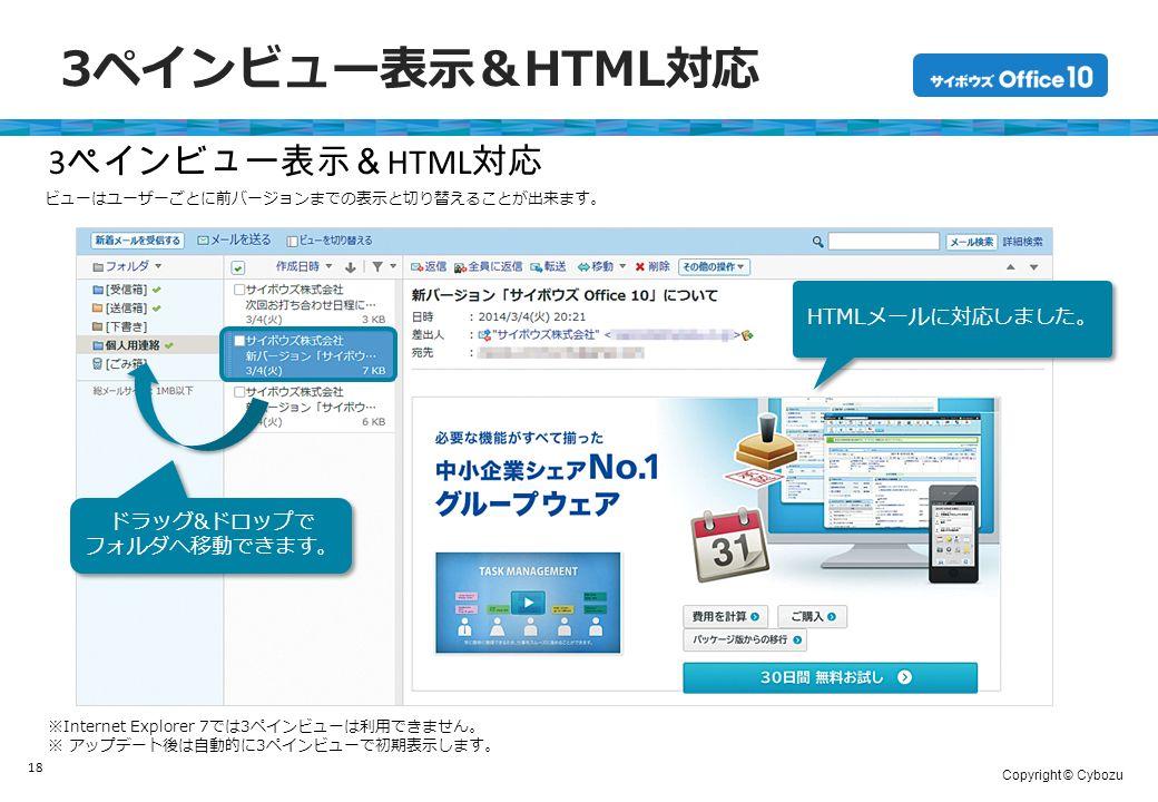 Copyright © Cybozu 3ペインビュー表示&HTML対応 18 ※Internet Explorer 7では3ペインビューは利用できません。 ※ アップデート後は自動的に3ペインビューで初期表示します。 3 ペインビュー表示& HTML 対応 ビューはユーザーごとに前バージョンまでの表示と切り替えることが出来ます。 ドラッグ&ドロップで フォルダへ移動できます。 ドラッグ&ドロップで フォルダへ移動できます。