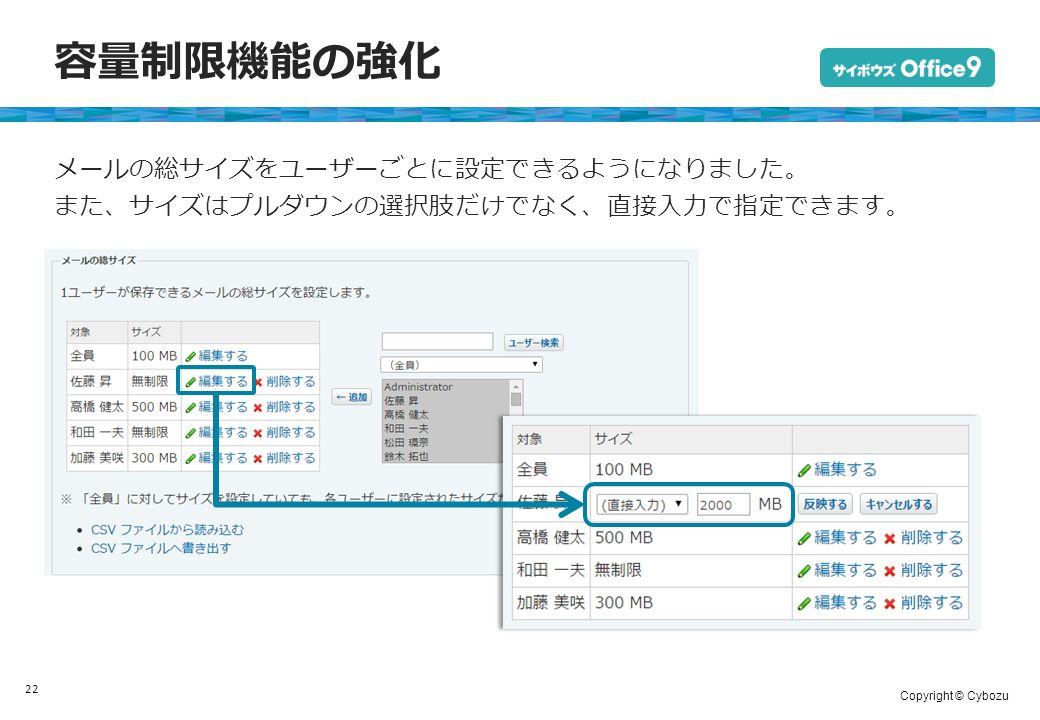 Copyright © Cybozu 容量制限機能の強化 22 メールの総サイズをユーザーごとに設定できるようになりました。 また、サイズはプルダウンの選択肢だけでなく、直接入力で指定できます。