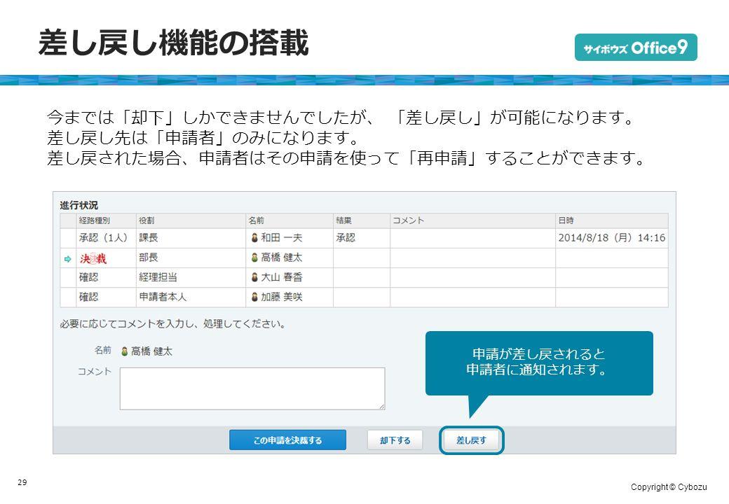 Copyright © Cybozu 差し戻し機能の搭載 29 今までは「却下」しかできませんでしたが、 「差し戻し」が可能になります。 差し戻し先は「申請者」のみになります。 差し戻された場合、申請者はその申請を使って「再申請」することができます。 申請が差し戻されると 申請者に通知されます。
