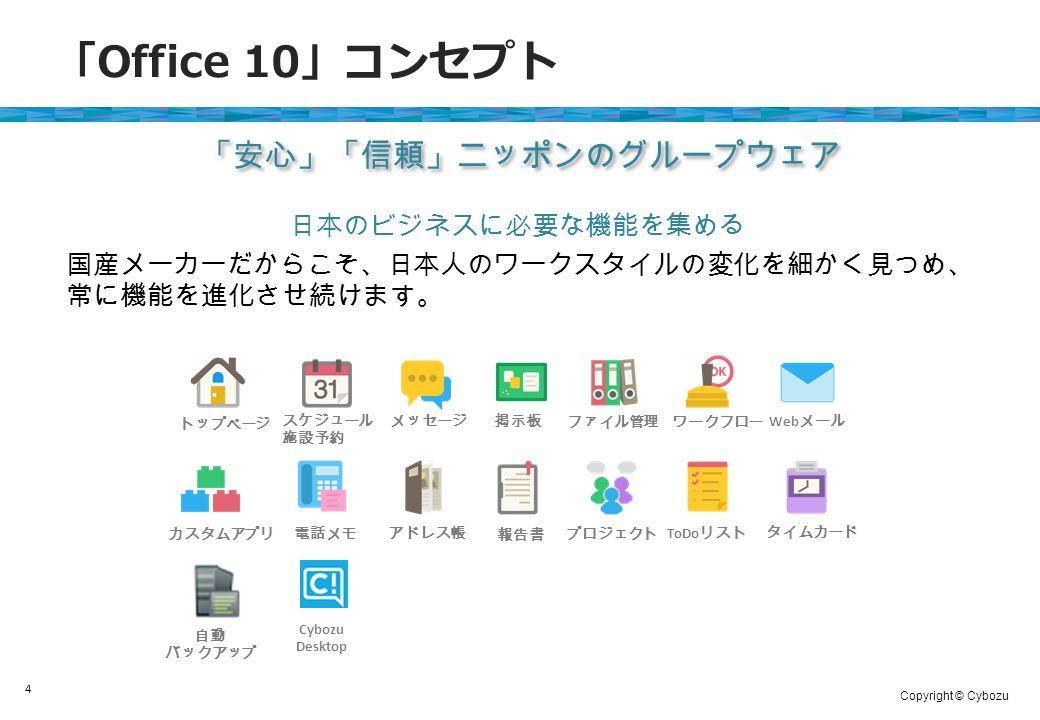 Copyright © Cybozu 「 Office 10 」コンセプト 4 日本のビジネスに必要な機能を集める 国産メーカーだからこそ、日本人のワークスタイルの変化を細かく見つめ、 常に機能を進化させ続けます。 「安心」「信頼」ニッポンのグループウェア トップページ スケジュール 施設予約 メッセージ 掲示板 ファイル管理 ワークフロー Web メール カスタムアプリ 電話メモ アドレス帳 報告書 プロジェクト ToDo リスト タイムカード 自動 バックアップ Cybozu Desktop