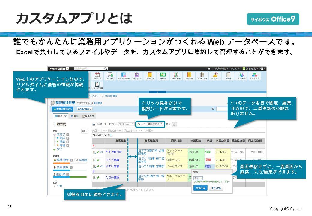 Copyright © Cybozu カスタムアプリとは 43 誰でもかんたんに業務用アプリケーションがつくれる Web データベースです。 Excel で共有しているファイルやデータを、カスタムアプリに集約して管理することができます。 Web 上のアプリケーションなので、 リアルタイムに最新の情報が掲載 されます。 1 つのデータを皆で閲覧・編集 するので、二重更新の心配は ありません。 1 つのデータを皆で閲覧・編集 するので、二重更新の心配は ありません。 画面遷移せずに、一覧画面から 直接、入力 / 編集ができます。 列幅を自由に調整できます。 クリック操作だけで 複数ソートが可能です。 クリック操作だけで 複数ソートが可能です。