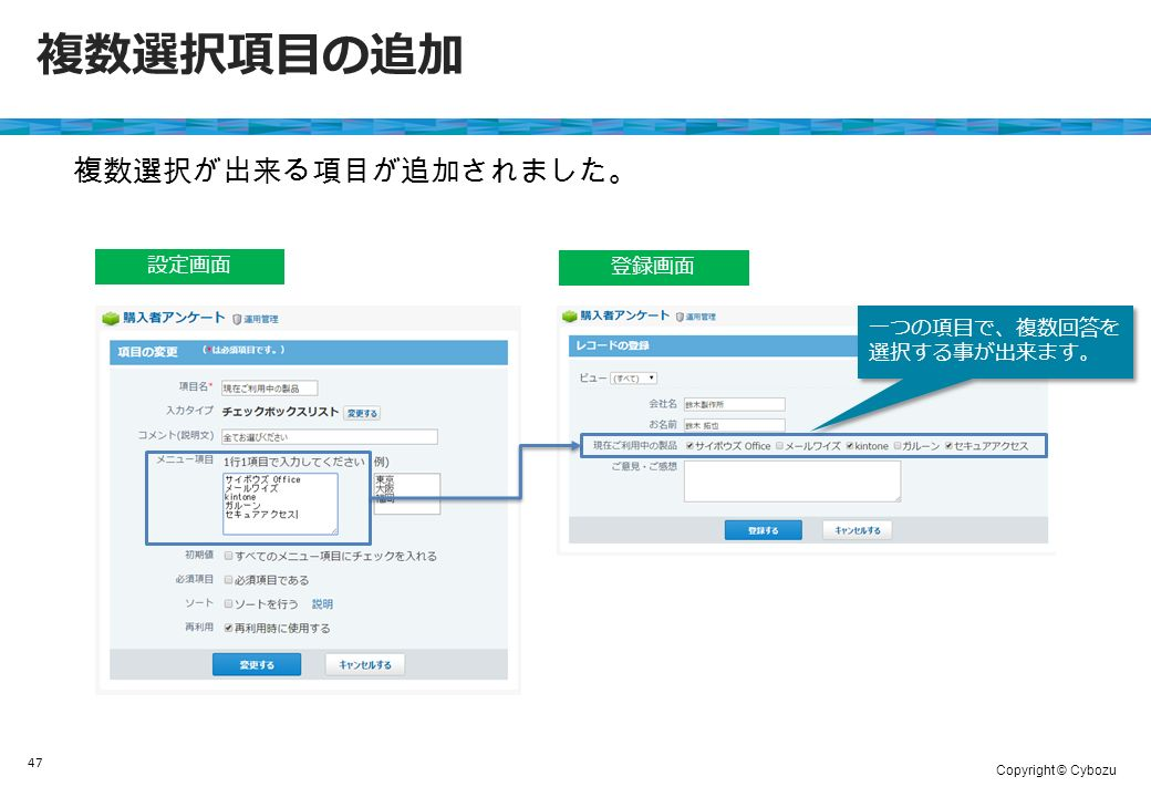 Copyright © Cybozu 47 複数選択項目の追加 設定画面 登録画面 複数選択が出来る項目が追加されました。 一つの項目で、複数回答を 選択する事が出来ます。
