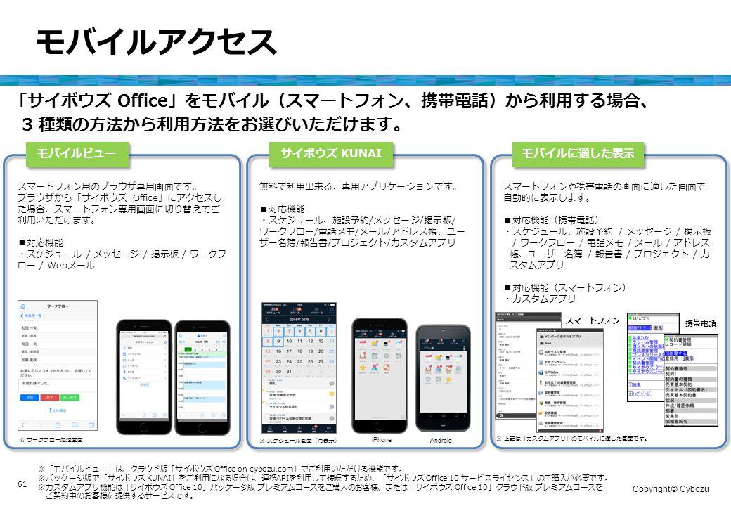 Copyright © Cybozu 61 モバイルアクセス モバイルビュー サイボウズ KUNAI モバイルに適した表示 「サイボウズ Office」をモバイル(スマートフォン、携帯電話)から利用する場合、 3 種類の方法から利用方法をお選びいただけます。 スマートフォン 携帯電話 スマートフォンや携帯電話の画面に適した画面で 自動的に表示します。 ■対応機能(携帯電話) ・スケジュール、施設予約 / メッセージ / 掲示板 / ワークフロー / 電話メモ / メール / アドレス 帳、ユーザー名簿 / 報告書 / プロジェクト / カ スタムアプリ ■対応機能(スマートフォン) ・カスタムアプリ Android iPhone ※「モバイルビュー」は、クラウド版「サイボウズ Office on cybozu.com」でご利用いただける機能です。 ※パッケージ版で「サイボウズ KUNAI」をご利用になる場合は、連携APIを利用して接続するため、「サイボウズ Office 10 サービスライセンス」のご購入が必要です。 ※カスタムアプリ機能は「サイボウズ Office 10」パッケージ版 プレミアムコースをご購入のお客様、または「サイボウズ Office 10」クラウド版 プレミアムコースを ご契約中のお客様に提供するサービスです。 無料で利用出来る、専用アプリケーションです。 ■対応機能 ・スケジュール、施設予約/メッセージ/掲示板/ ワークフロー/電話メモ/メール/アドレス帳、ユー ザー名簿/報告書/プロジェクト/カスタムアプリ ※ 上記は「カスタムアプリ」のモバイルに適した画面です。 ※ スケジュール画面(月表示) スマートフォン用のブラウザ専用画面です。 ブラウザから「サイボウズ Office」にアクセスし た場合、スマートフォン専用画面に切り替えてご 利用いただけます。 ■対応機能 ・スケジュール / メッセージ / 掲示板 / ワークフ ロー / Webメール ※ ワークフロー処理画面