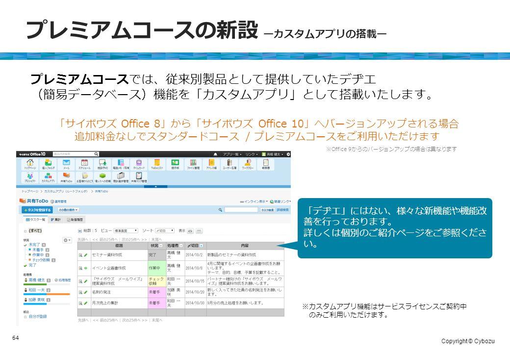 Copyright © Cybozu プレミアムコースの新設 ーカスタムアプリの搭載ー 64 プレミアムコースでは、従来別製品として提供していたデヂエ (簡易データベース)機能を「カスタムアプリ」として搭載いたします。 「サイボウズ Office 8」から「サイボウズ Office 10」へバージョンアップされる場合 追加料金なしでスタンダードコース / プレミアムコースをご利用いただけます ※カスタムアプリ機能はサービスライセンスご契約中 のみご利用いただけます。 ※Office 9からのバージョンアップの場合は異なります 「デヂエ」にはない、様々な新機能や機能改 善を行っております。 詳しくは個別のご紹介ページをご参照くださ い。