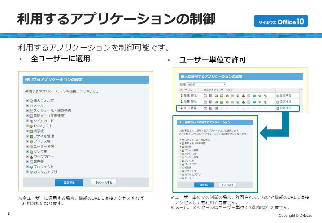 Copyright © Cybozu 利用するアプリケーションの制御 全ユーザーに適用 8 ユーザー単位で許可 利用するアプリケーションを制御可能です。 ※全ユーザーに適用する場合、機能のURLに直接アクセスすれば 利用可能になります。 ※ユーザー単位での制御の場合、許可されていないと機能のURLに直接 アクセスしても利用できません。 ※メール、メッセージはユーザー単位での制御は行えません。