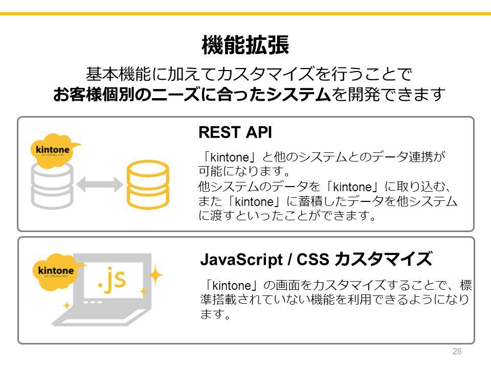 機能拡張 REST API 「 kintone 」と他のシステムとのデータ連携が 可能になります。 他システムのデータを「 kintone 」に取り込む、 また「 kintone 」に蓄積したデータを他システム に渡すといったことができます。 JavaScript / CSS カスタマイズ 「 kintone 」の画面をカスタマイズすることで、標 準搭載されていない機能を利用できるようになり ます。 基本機能に加えてカスタマイズを行うことで お客様個別のニーズに合ったシステムを開発できます 28