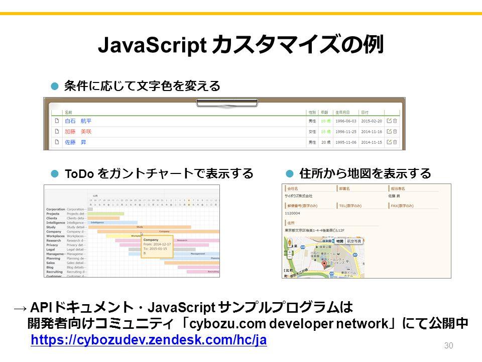 JavaScript カスタマイズの例 ● ToDo をガントチャートで表示する → API ドキュメント・ JavaScript サンプルプログラムは 開発者向けコミュニティ「 cybozu.com developer network 」にて公開中 https://cybozudev.zendesk.com/hc/ja ● 条件に応じて文字色を変える ● 住所から地図を表示する 30