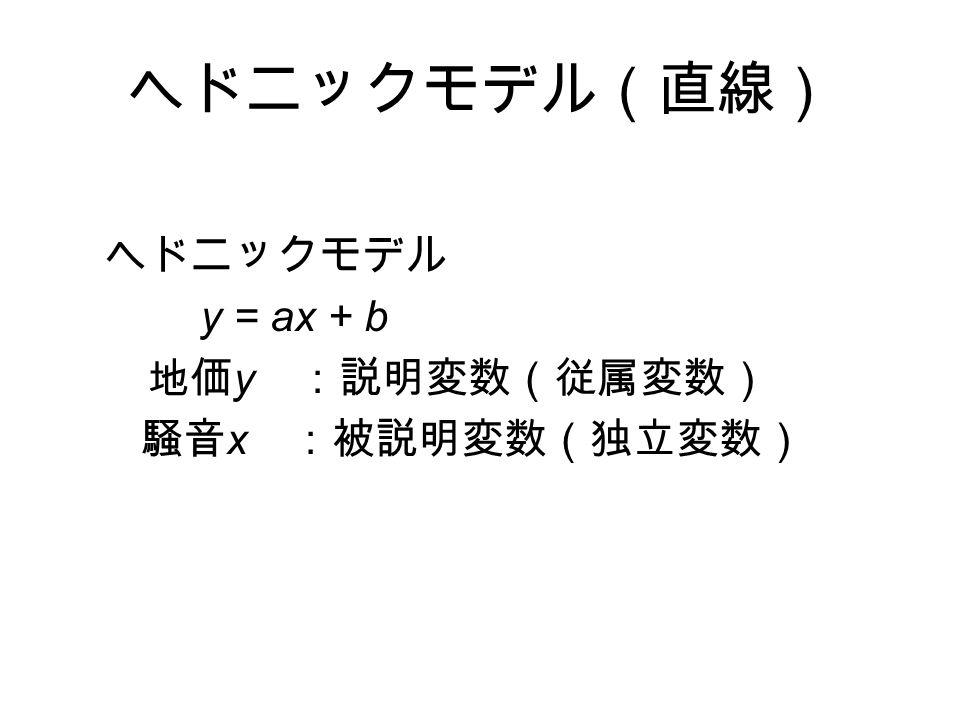 ヘドニックモデル(直線) ヘドニックモデル y = ax + b 地価 y :説明変数(従属変数) 騒音 x :被説明変数(独立変数)