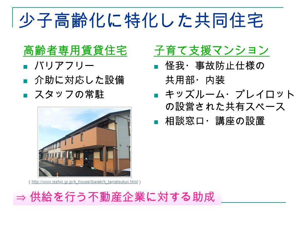 少子高齢化に特化した共同住宅 高齢者専用賃貸住宅 バリアフリー 介助に対応した設備 スタッフの常駐 子育て支援マンション 怪我・事故防止仕様の 共用部・内装 キッズルーム・プレイロット の設営された共有スペース 相談窓口・講座の設置 ( http://www.isshin.gr.jp/k_house/ibaraki/k_tamatsukuri.html ) http://www.isshin.gr.jp/k_house/ibaraki/k_tamatsukuri.html ⇒ 供給を行う不動産企業に対する助成