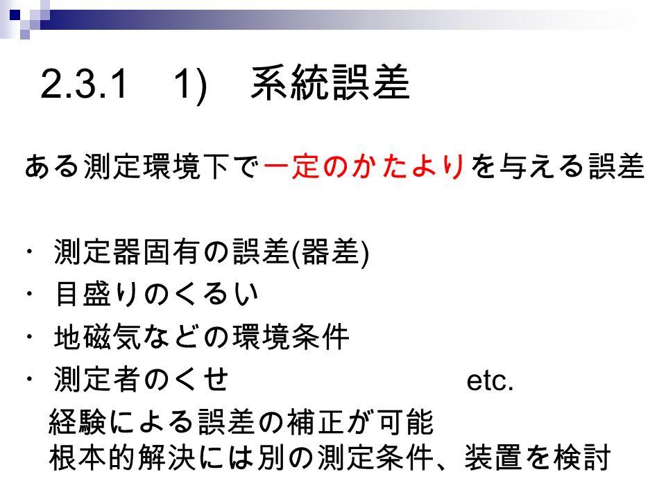 2.3.1 1) 系統誤差 ある測定環境下で一定のかたよりを与える誤差 ・測定器固有の誤差 ( 器差 ) ・目盛りのくるい ・地磁気などの環境条件 ・測定者のくせ etc.