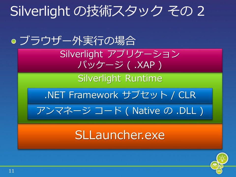 11 Silverlight の技術スタック その 2 ブラウザー外実行の場合 SLLauncher.exeSLLauncher.exe Silverlight Runtime アンマネージ コード ( Native の.DLL ).NET Framework サブセット / CLR Silverlight アプリケーション パッケージ (.XAP ) Silverlight アプリケーション パッケージ (.XAP )