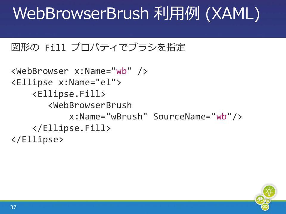 37 WebBrowserBrush 利用例 (XAML) 図形の Fill プロパティでブラシを指定 <WebBrowserBrush x:Name= wBrush SourceName= wb />