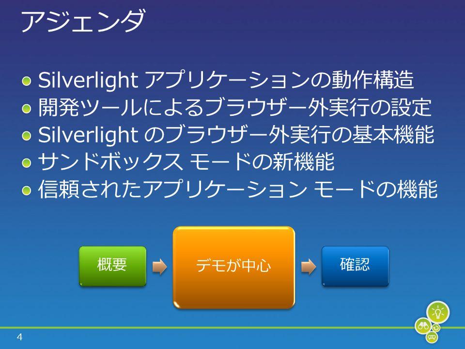 4 アジェンダ Silverlight アプリケーションの動作構造 開発ツールによるブラウザー外実行の設定 Silverlight のブラウザー外実行の基本機能 サンドボックス モードの新機能 信頼されたアプリケーション モードの機能 概要 デモが中心 確認