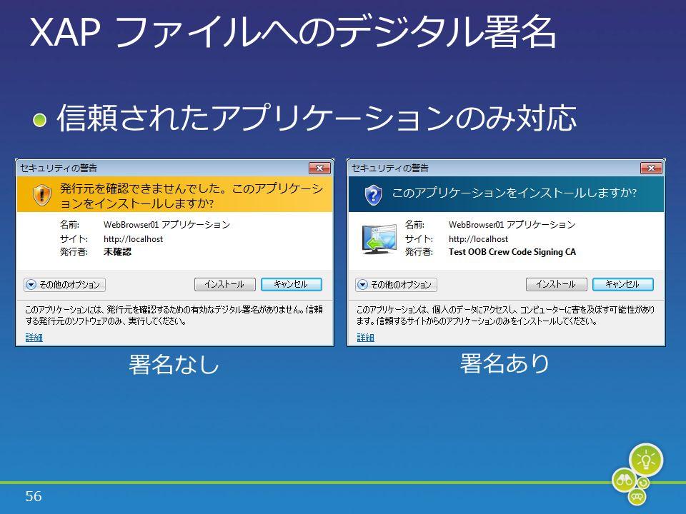 56 XAP ファイルへのデジタル署名 信頼されたアプリケーションのみ対応 署名なし 署名あり