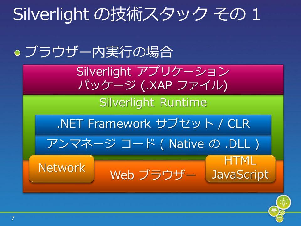 7 Silverlight の技術スタック その 1 ブラウザー内実行の場合 Web ブラウザー Silverlight Runtime アンマネージ コード ( Native の.DLL ).NET Framework サブセット / CLR Silverlight アプリケーション パッケージ (.XAP ファイル) Silverlight アプリケーション パッケージ (.XAP ファイル) NetworkNetworkHTMLJavaScriptHTMLJavaScript