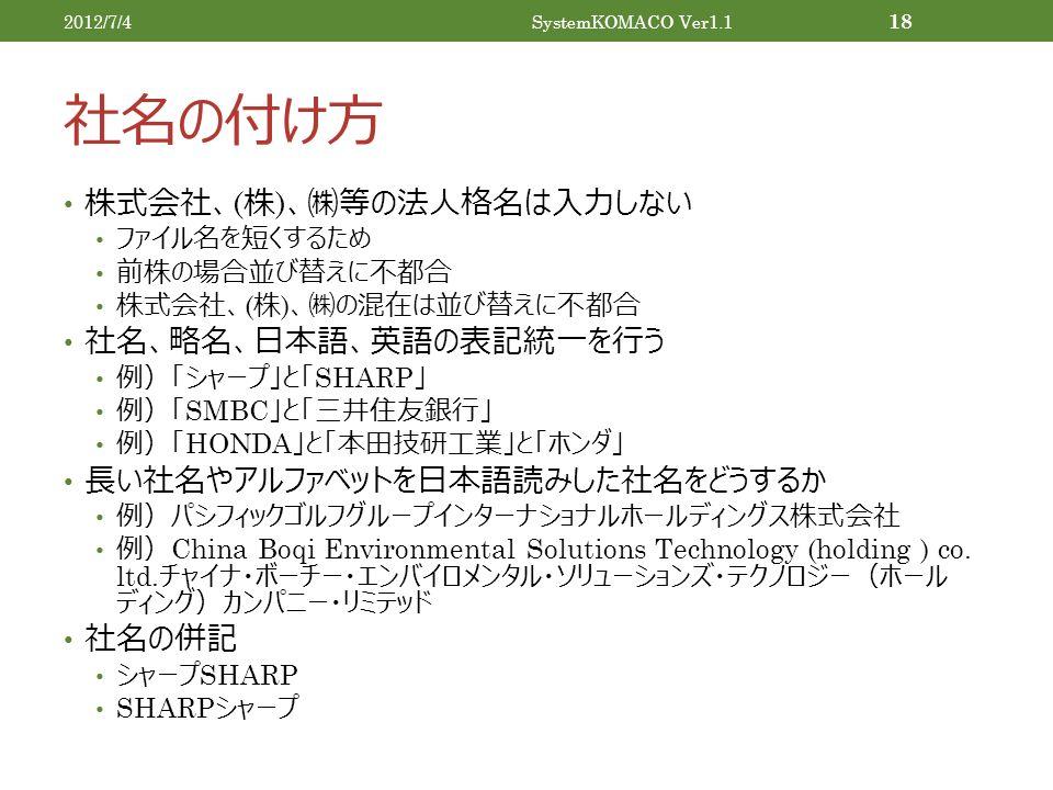 社名の付け方 株式会社、 ( 株 ) 、㈱等の法人格名は入力しない ファイル名を短くするため 前株の場合並び替えに不都合 株式会社、 ( 株 ) 、㈱の混在は並び替えに不都合 社名、略名、日本語、英語の表記統一を行う 例)「シャープ」と「 SHARP 」 例)「 SMBC 」と「三井住友銀行」 例)「 HONDA 」と「本田技研工業」と「ホンダ」 長い社名やアルファベットを日本語読みした社名をどうするか 例)パシフィックゴルフグループインターナショナルホールディングス株式会社 例) China Boqi Environmental Solutions Technology (holding ) co.