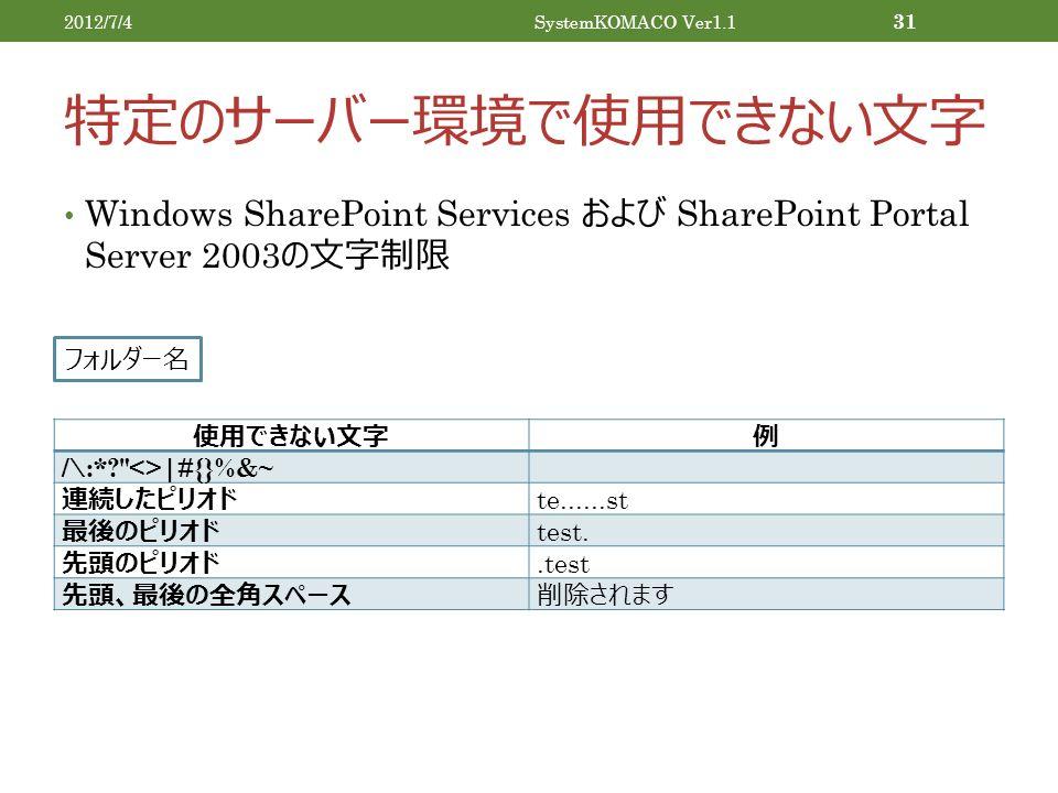 特定のサーバー環境で使用できない文字 Windows SharePoint Services および SharePoint Portal Server 2003 の文字制限 2012/7/4SystemKOMACO Ver1.1 31 使用できない文字例 /\:* <>|#{}%&~ 連続したピリオド te......st 最後のピリオド test.