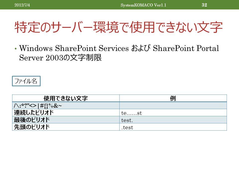 特定のサーバー環境で使用できない文字 Windows SharePoint Services および SharePoint Portal Server 2003 の文字制限 2012/7/4SystemKOMACO Ver1.1 32 使用できない文字例 /\:* <>|#{}%&~ 連続したピリオド te......st 最後のピリオド test.