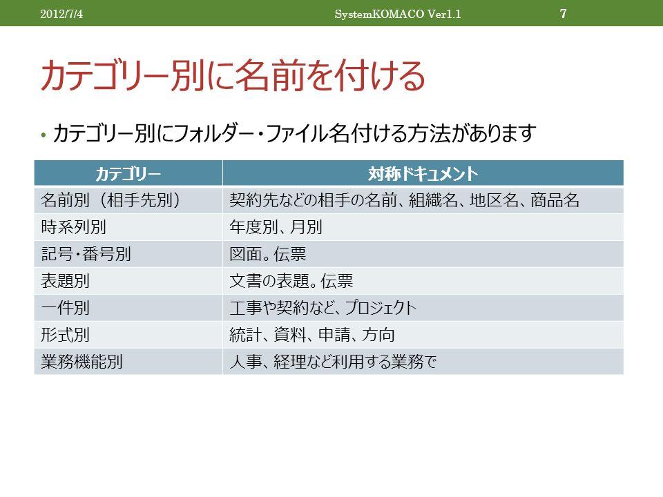 カテゴリー別に名前を付ける カテゴリー別にフォルダー・ファイル名付ける方法があります 2012/7/4SystemKOMACO Ver1.1 7 カテゴリー対称ドキュメント 名前別(相手先別)契約先などの相手の名前、組織名、地区名、商品名 時系列別年度別、月別 記号・番号別図面。伝票 表題別文書の表題。伝票 一件別工事や契約など、プロジェクト 形式別統計、資料、申請、方向 業務機能別人事、経理など利用する業務で