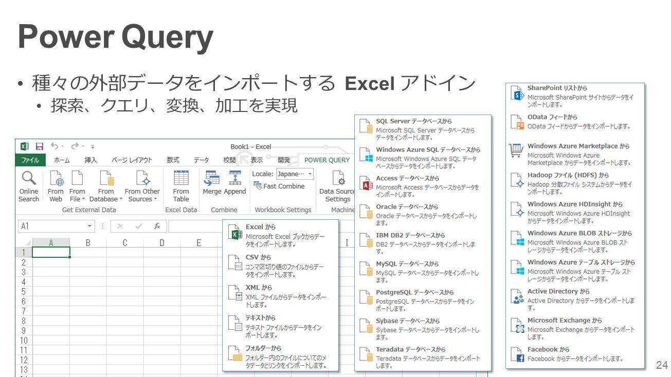 24 Power Query 種々の外部データをインポートする Excel アドイン 探索、クエリ、変換、加工を実現