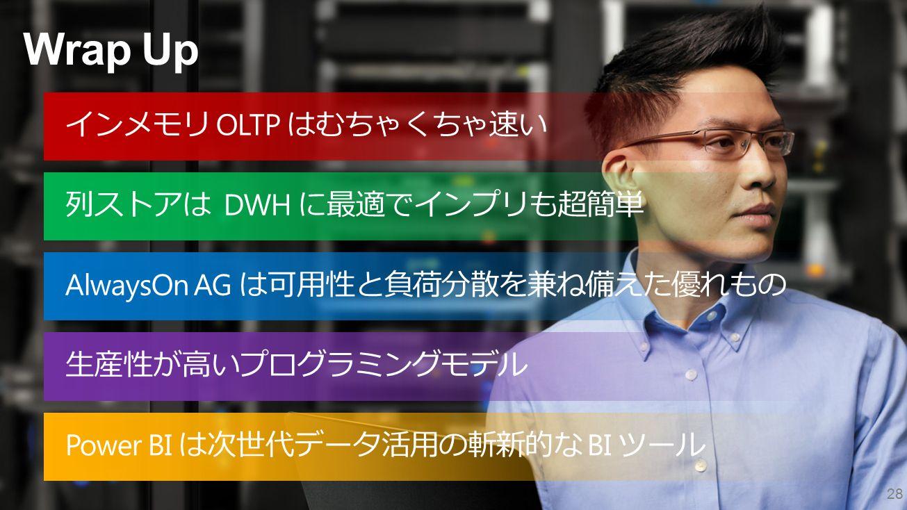 Wrap Up 28 インメモリ OLTP はむちゃくちゃ速い 列ストアは DWH に最適でインプリも超簡単 AlwaysOn AG は可用性と負荷分散を兼ね備えた優れもの Power BI は次世代データ活用の斬新的な BI ツール 生産性が高いプログラミングモデル