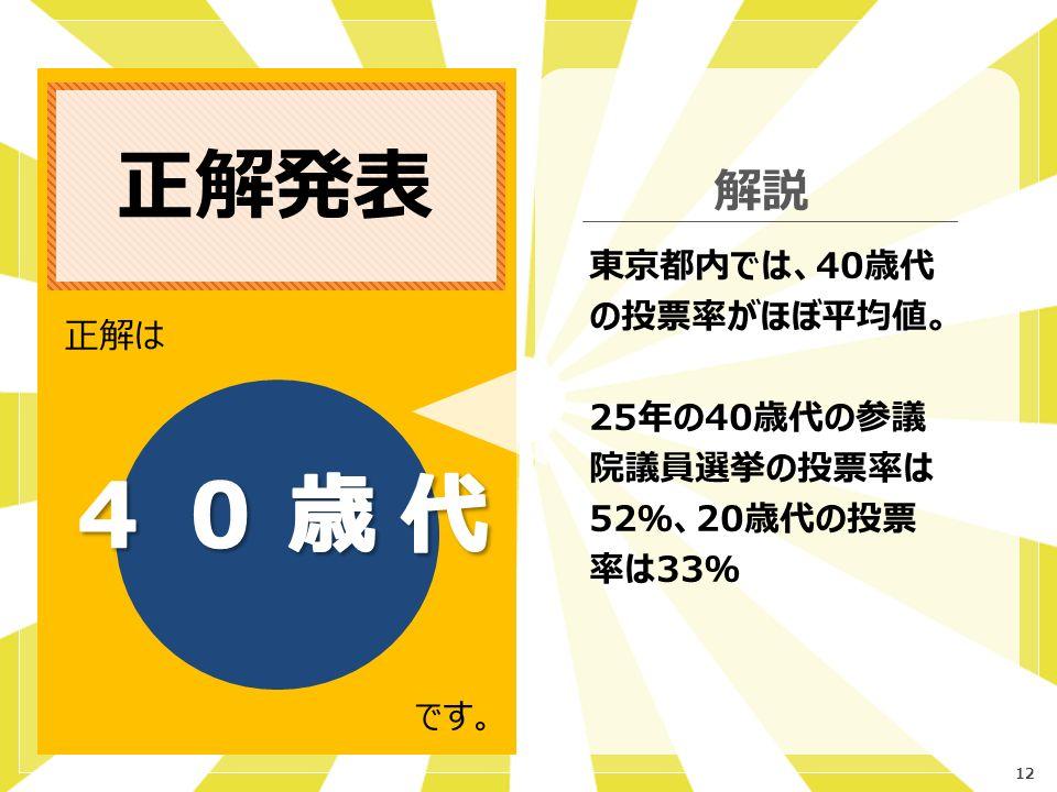 12 正解発表 正解は です。 解説 東京都内では、40歳代 の投票率がほぼ平均値。 25年の40歳代の参議 院議員選挙の投票率は 52%、20歳代の投票 率は33%