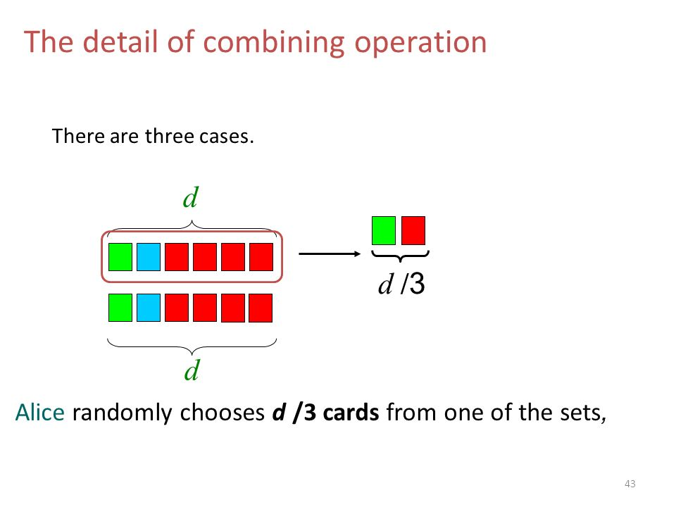 d d The detail of combining operation d /3d /3 Alice randomly chooses d /3 cards from one of the sets, There are three cases.