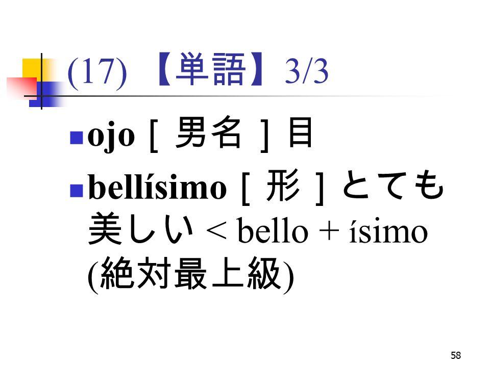 58 (17) 【単語】 3/3 ojo [男名]目 bellísimo [形]とても 美しい < bello + í simo ( 絶対最上級 )
