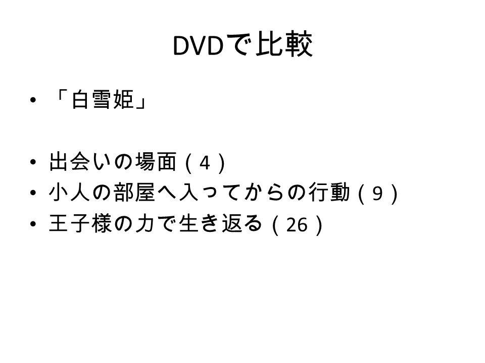 DVD で比較 「白雪姫」 出会いの場面( 4 ) 小人の部屋へ入ってからの行動( 9 ) 王子様の力で生き返る( 26 )