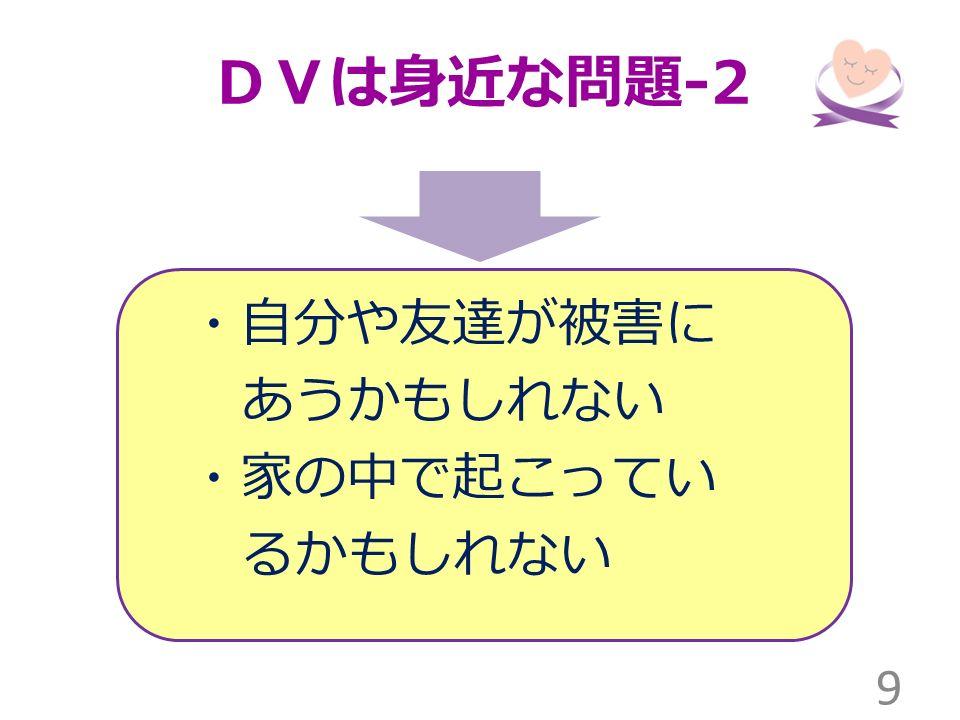 DVは身近な問題 -2 ・自分や友達が被害に あうかもしれない ・家の中で起こってい るかもしれない 9