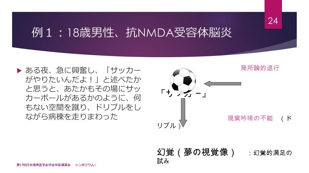 例 1: 18 歳男性 、 抗 NMDA 受容体脳炎  ある夜 、 急に興奮し 、「 サッカー がやりたいんだよ !」 と述べたか と思うと 、 あたかもその場にサッ カーボールがあるかのように 、 何 もない空間を蹴り 、 ドリブルをし ながら病棟を走りまわった 第 17 回日本精神医学史学会学術講演会 シンポジウム Ⅲ 24 局所論的退行 「サッカー」 現実吟味の不能 (ド リブル) 幻覚(夢の視覚像) :幻覚的満足の 試み