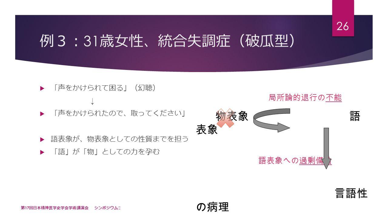 例 3: 31 歳女性 、 統合失調症 ( 破瓜型 )  「 声をかけられて困る 」( 幻聴 ) ↓  「 声をかけられたので 、 取ってください 」  語表象が 、 物表象としての性質までを担う  「 語 」 が 「 物 」 としての力を孕む 第 17 回日本精神医学史学会学術講演会 シンポジウム Ⅲ 26 局所論的退行の不能 物表象 語 表象 語表象への過剰備給 言語性 の病理