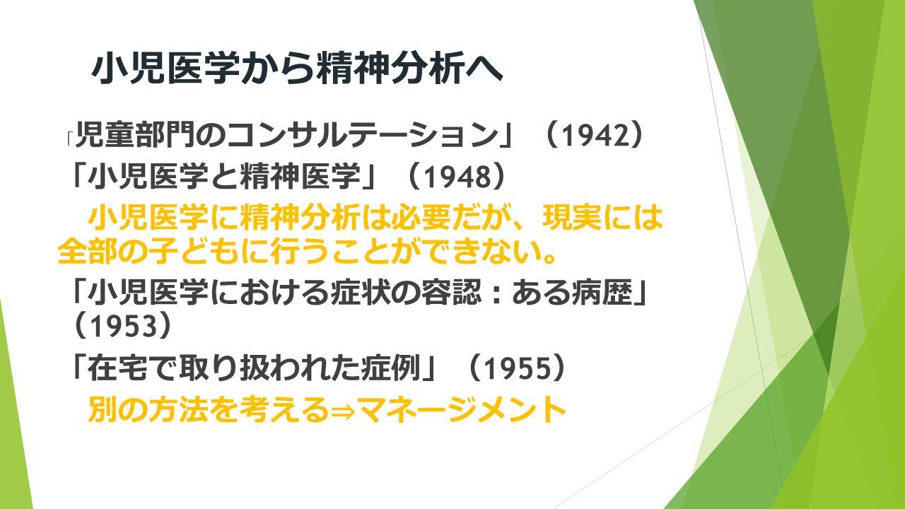 小児医学から精神分析へ 「 児童部門のコンサルテーション 」( 1942 ) 「 小児医学と精神医学 」( 1948 ) 小児医学に精神分析は必要だが 、 現実には 全部の子どもに行うことができない 。 「 小児医学における症状の容認 : ある病歴 」 ( 1953 ) 「 在宅で取り扱われた症例 」( 1955 ) 別の方法を考える ⇒ マネージメント