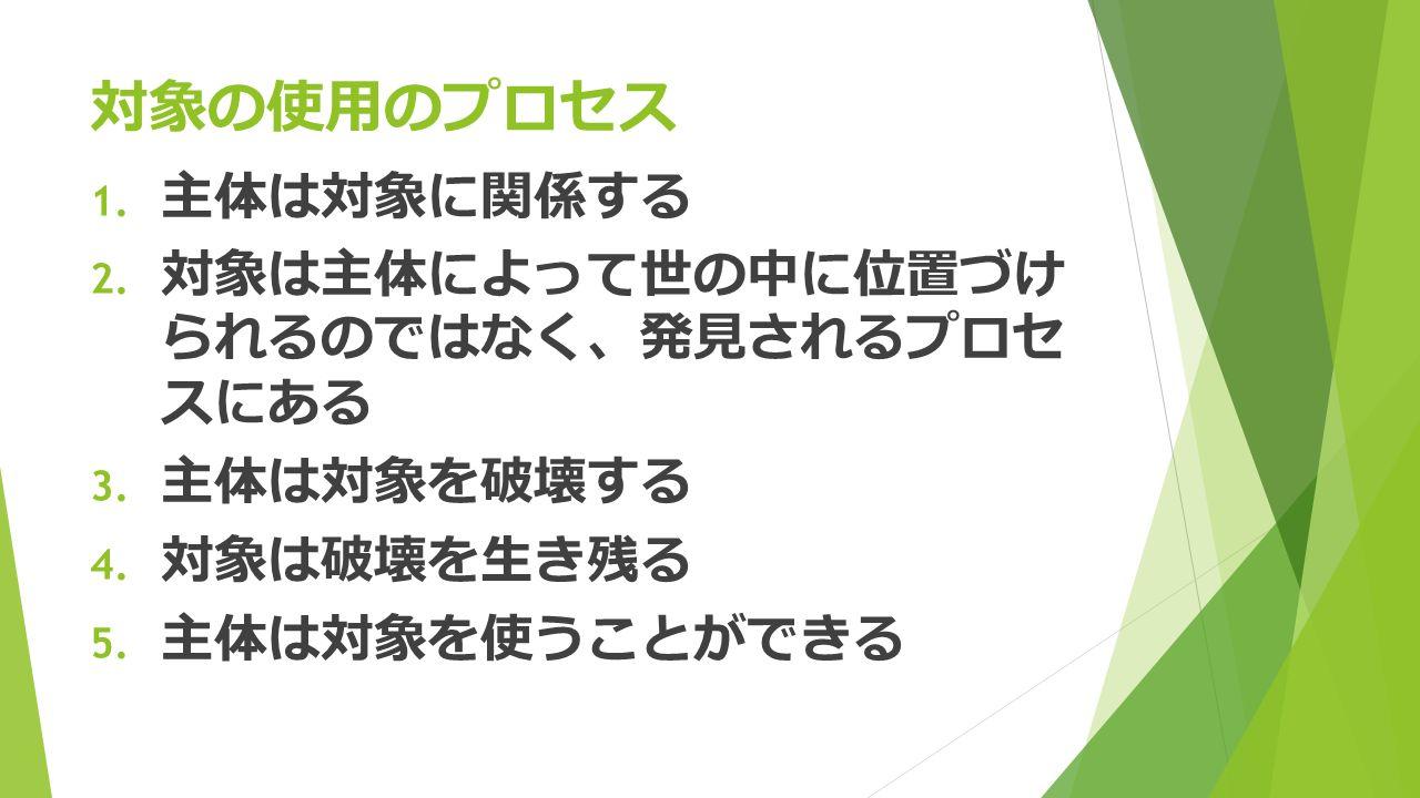 対象の使用のプロセス 1. 主体は対象に関係する 2. 対象は主体によって世の中に位置づけ られるのではなく 、 発見されるプロセ スにある 3.