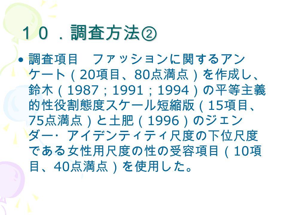 10.調査方法② 調査項目 ファッションに関するアン ケート( 20 項目、 80 点満点)を作成し、 鈴木( 1987 ; 1991 ; 1994 )の平等主義 的性役割態度スケール短縮版( 15 項目、 75 点満点)と土肥( 1996 )のジェン ダー・アイデンティティ尺度の下位尺度 である女性用尺度の性の受容項目( 10 項 目、 40 点満点)を使用した。 質問用紙は、ファッションに