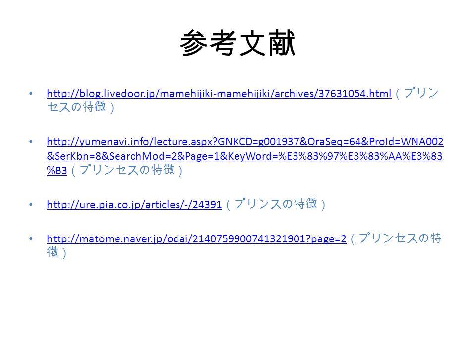 参考文献 http://blog.livedoor.jp/mamehijiki-mamehijiki/archives/37631054.html (プリン セスの特徴) http://blog.livedoor.jp/mamehijiki-mamehijiki/archives/37631054.html http://yumenavi.info/lecture.aspx GNKCD=g001937&OraSeq=64&ProId=WNA002 &SerKbn=8&SearchMod=2&Page=1&KeyWord=%E3%83%97%E3%83%AA%E3%83 %B3 (プリンセスの特徴) http://yumenavi.info/lecture.aspx GNKCD=g001937&OraSeq=64&ProId=WNA002 &SerKbn=8&SearchMod=2&Page=1&KeyWord=%E3%83%97%E3%83%AA%E3%83 %B3 http://ure.pia.co.jp/articles/-/24391 (プリンスの特徴) http://ure.pia.co.jp/articles/-/24391 http://matome.naver.jp/odai/2140759900741321901 page=2 (プリンセスの特 徴) http://matome.naver.jp/odai/2140759900741321901 page=2