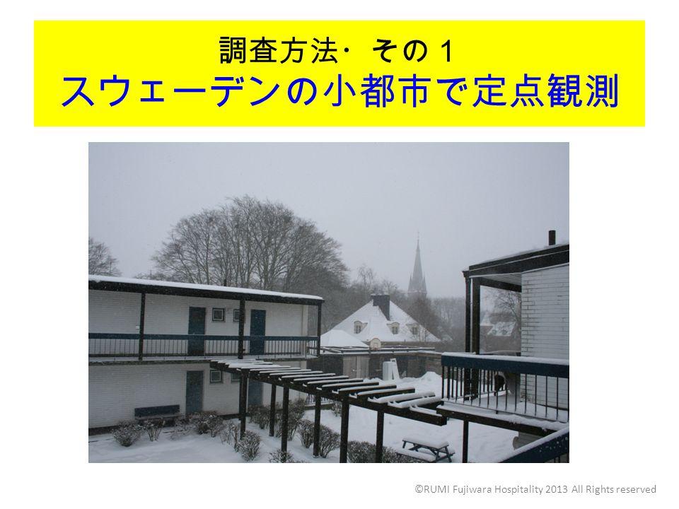 調査方法・その1 スウェーデンの小都市で定点観測 ©RUMI Fujiwara Hospitality 2013 All Rights reserved