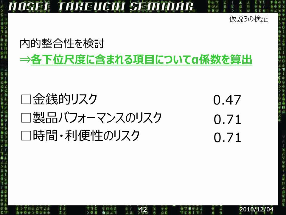 □金銭的リスク □製品パフォーマンスのリスク □時間・利便性のリスク 0.47 0.71 内的整合性を検討 仮説3の検証 ⇒各下位尺度に含まれる項目についてα係数を算出 2010/12/04 42