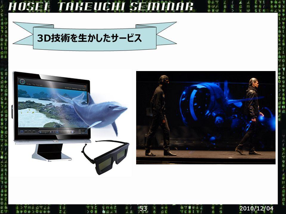 3D技術を生かしたサービス 2010/12/04 53