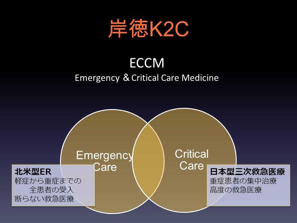 岸徳 K2C Emergency Care Critical Care ECCM Emergency & Critical Care Medicine 北米型ER 軽症から重症までの 全患者の受入 断らない救急医療 日本型三次救急医療 重症患者の集中治療 高度の救急医療