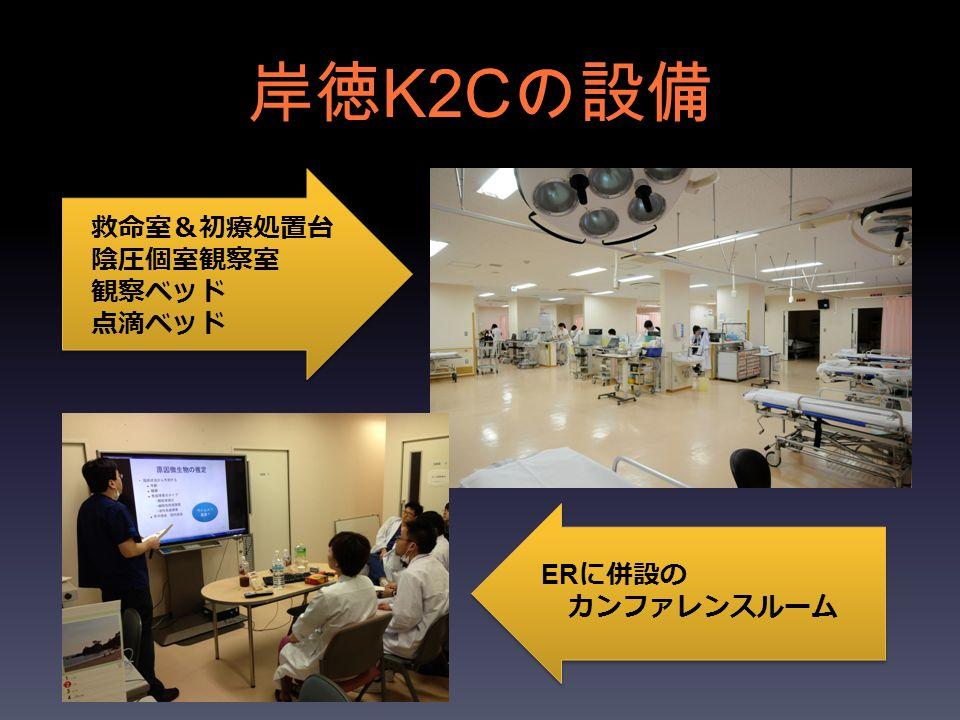 岸徳 K2C の設備 救命室 & 初療処置台 陰圧個室観察室 観察ベッド 点滴ベッド ER に併設の カンファレンスルーム