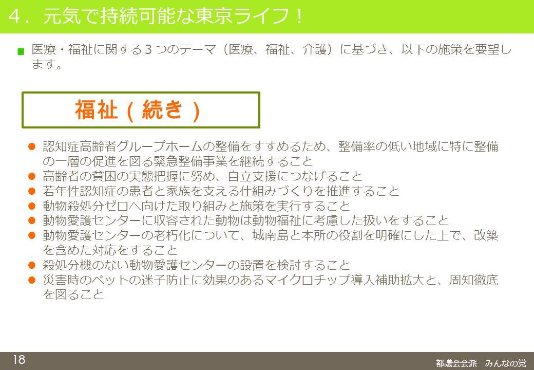 18 4.元気で持続可能な東京ライフ! 都議会会派 みんなの党 福祉(続き) 認知症高齢者グループホームの整備をすすめるため、整備率の低い地域に特に整備 の一層の促進を図る緊急整備事業を継続すること 高齢者の貧困の実態把握に努め、自立支援につなげること 若年性認知症の患者と家族を支える仕組みづくりを推進すること 動物殺処分ゼロへ向けた取り組みと施策を実行すること 動物愛護センターに収容された動物は動物福祉に考慮した扱いをすること 動物愛護センターの老朽化について、城南島と本所の役割を明確にした上で、改築 を含めた対応をすること 殺処分機のない動物愛護センターの設置を検討すること 災害時のペットの迷子防止に効果のあるマイクロチップ導入補助拡大と、周知徹底 を図ること 医療・福祉に関する3つのテーマ(医療、福祉、介護)に基づき、以下の施策を要望し ます。